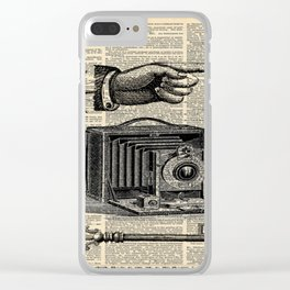 nautical compass dictionary print steampunk skeleton keys antique camera Clear iPhone Case
