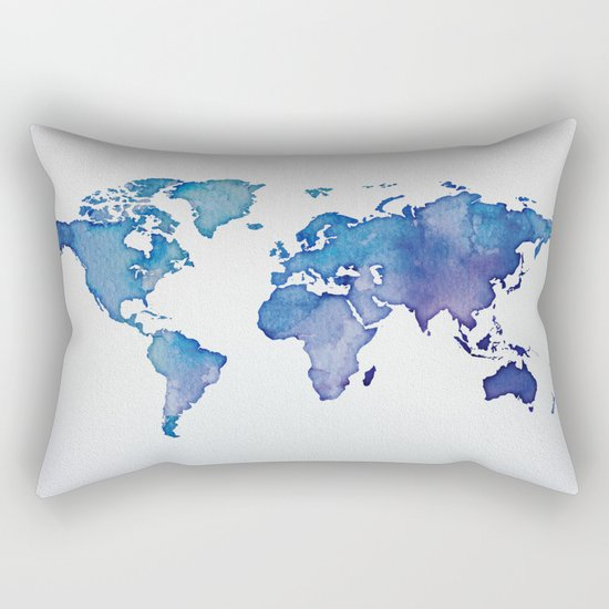 Blue World Map 02 Rectangular Pillow