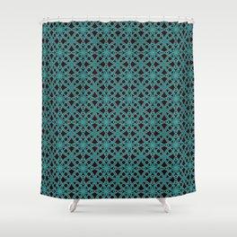 Elegant Aqua Moroccan Geometric Design Shower Curtain
