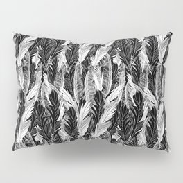 Seamless beautiful pattern feathers black white ornament. Vector illustration of a template for the  Pillow Sham