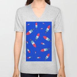 Popsicles - Retro Pattern - (cobalt blue background) Unisex V-Neck