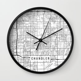 Chandler Map, USA - Black and White Wall Clock