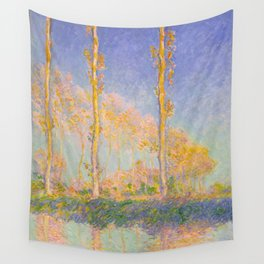 Claude Monet Impressionist Landscape Oil Painting Claude Monet French Poplars Pastel Romantic Colors Wall Tapestry