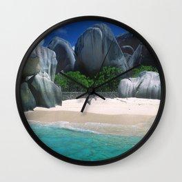 Seychelles Islands Romantic Beach With Exotic Rocks Wall Clock