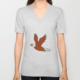 Angry Eagle Flying Cartoon Unisex V-Neck