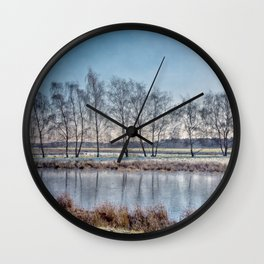 Winter landscape in Holand Wall Clock