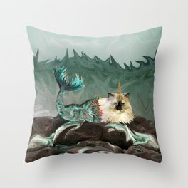 Behold the Mythical Merkitticorn - Mermaid Kitty Cat Unicorn Throw Pillow