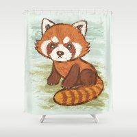 red panda Shower Curtains featuring Red Panda by Toru Sanogawa
