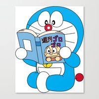 doraemon Canvas Prints featuring Doraemon Reading Comic Book by Timeless-Id