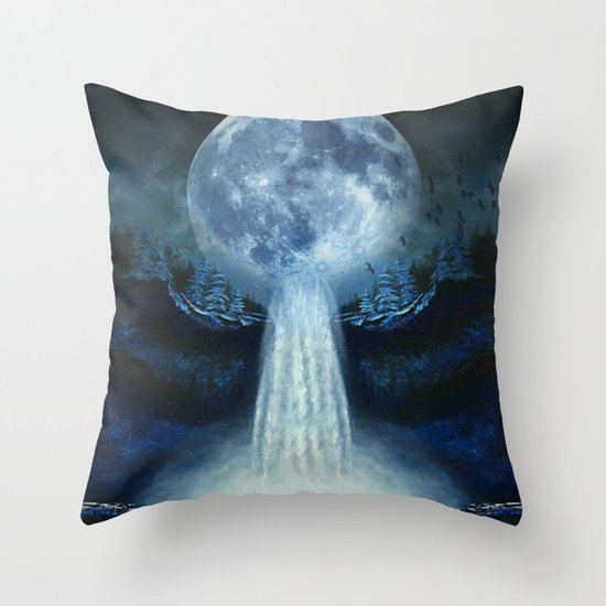 waterfall moon Throw Pillow