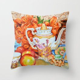 Lilies and Lace Throw Pillow