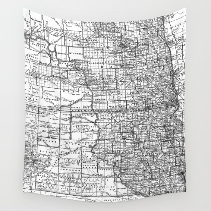 Vintage Map of North and South Dakota (1891) BW Wall Tapestry by  bravuramedia