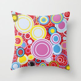 Pop Art Colour Circles Throw Pillow
