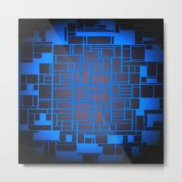 Mondrian Motherboard Blue Metal Print