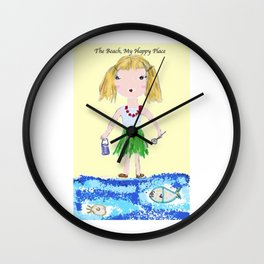 The Beach, My Happy Place Wall Clock