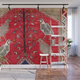 Persian Floral Rug With Several Birds Probably Quail Wall Mural