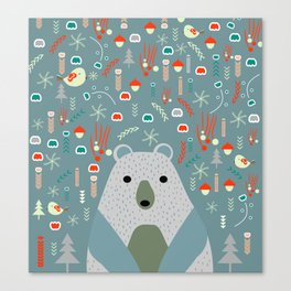 Winter pattern with baby bear Canvas Print
