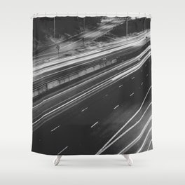 Seattle at Night - Black and White Shower Curtain