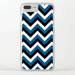 Blue White and Black Chevrons Clear iPhone Case