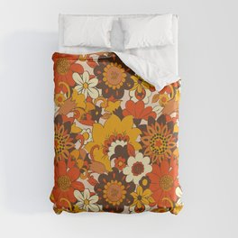 Retro 70s Flower Power, Floral, Orange Brown Yellow Psychedelic Pattern Duvet Cover