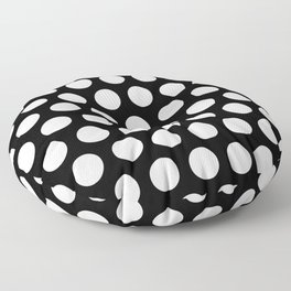 Black with White Polka Dots Floor Pillow