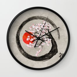 Zen Enso Circle and Sakura Tree on Canvas Wall Clock