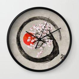 Zen Enso Circle and Sakura Tree on Canvas Wall Clock