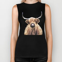 Highland Cow Portrait Biker Tank