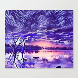 Cloudy Morning Sunrise on the Lake Canvas Print