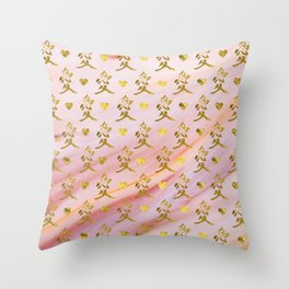 Gold Chinese Love symbol on rose marble Throw Pillow