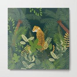 Jaguar in a Jungle on Green Metal Print