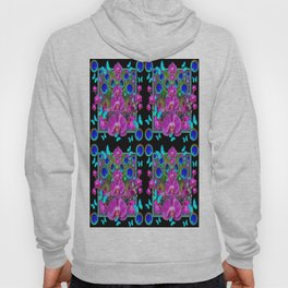 Four Panel Black Blue-Pink Orchids Butterflies Peacock Eyes Hoody