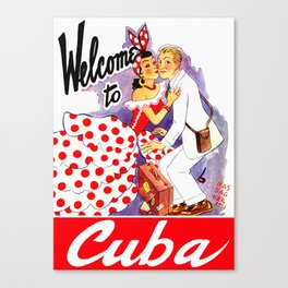 Vintage Welcome to Cuba Travel Poster Canvas Print