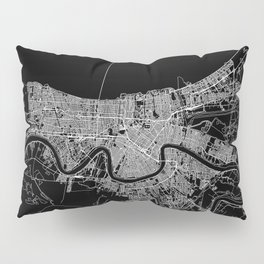 New Orleans Black Map Pillow Sham
