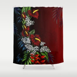 Exotic Tropical Flowers Shower Curtain