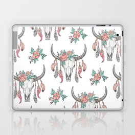 Boho Longhorn Cow Skull with Feathers and Peach Flowers Laptop & iPad Skin