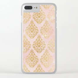 floral gold leaf diamond arabesque on pink Clear iPhone Case