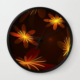 Dancing Flowers Fractal Art Wall Clock