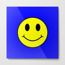 Smiley Happy in yellow color on a blue background - EFS162 Metal Print
