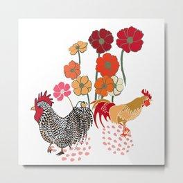 Rooster Toss Metal Print