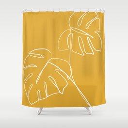 Monstera minimal - yellow Shower Curtain