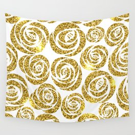 White & Gold Rose Pattern Wall Tapestry