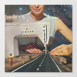 This is how a road gets made - Sewing Machine Canvas Print