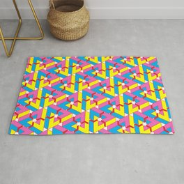 Triangle Optical Illusion CMY + red Rug