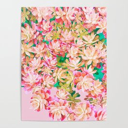 Cactus Fall - Pink and Green Poster
