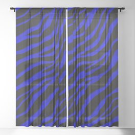 Ripped SpaceTime Stripes - Blue Sheer Curtain