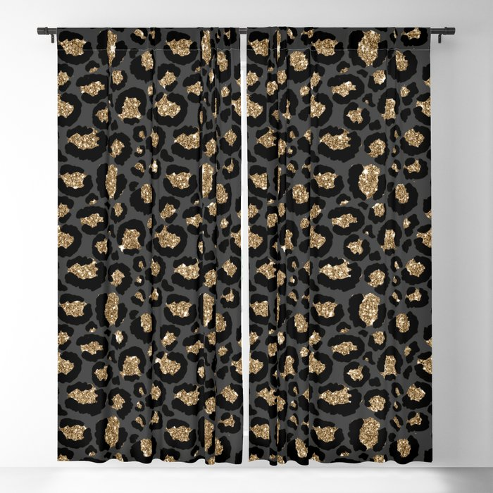 Black Gold Leopard Print Pattern Blackout Curtain By Nlmiller07art