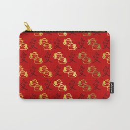 Gold Mandarin Ducks and Chinese love symbol Pattern Carry-All Pouch