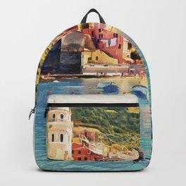 Vernazza on Italian Riviera, sea boats coastal houses, Italy marine nature travel art poster Backpack