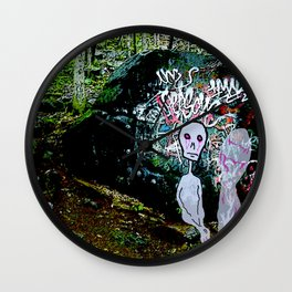 The alien Ghost of Graffiti Rock Wall Clock
